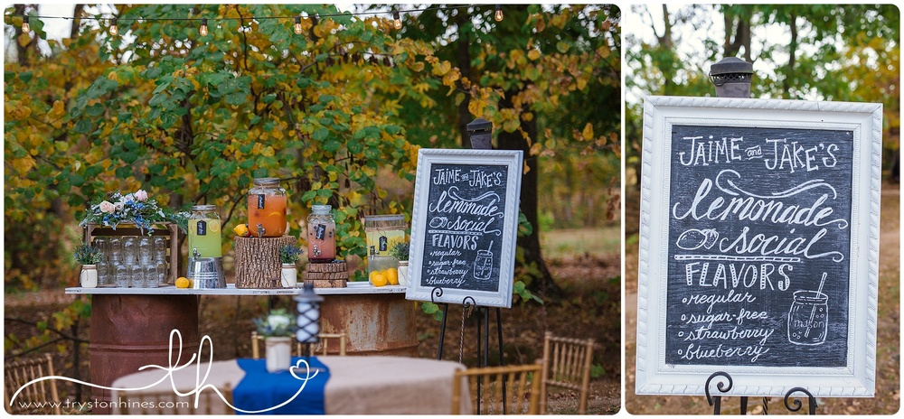 "Tryston Hines Photography, from Jaime + Jake's wedding at The Barn. Nothing says ""summer wedding"" like a pretty lemonade bar."