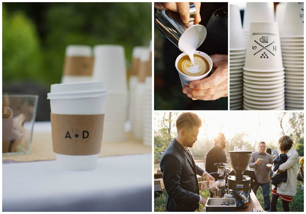 Brit + Co; Braedon Photography. Planning to party late into the night? Have a barista make delicious lattes to keep your guests caffeinated! Bonus points for custom coffee sleeves.