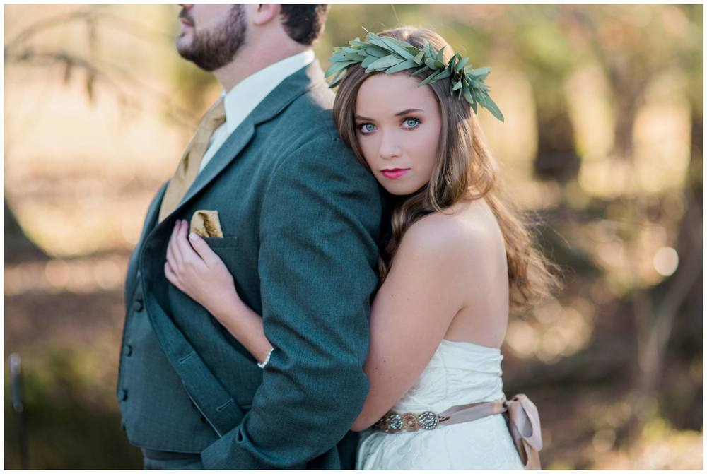 B.Matthews Creative, from Emaly + Thomas' wedding. A simple, elegant greenery crown is perfect for all seasons.