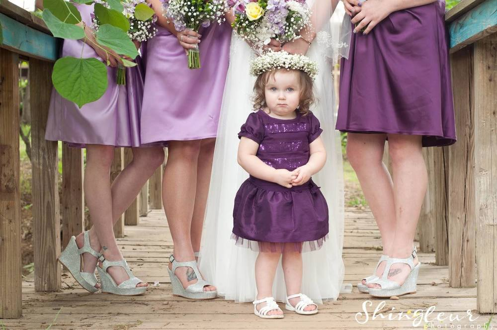 Shingleur Photography , from  Kyla + Tyler 's wedding. This tiny flower girl in a baby's breath crown! Be still, my heart.