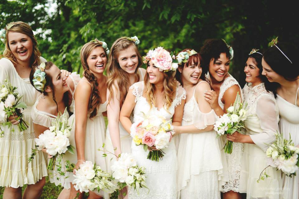 Stephanie Parsley Photography , from  Samantha + Danny 's wedding. Flowers in the hair for everyone! Totally into this.