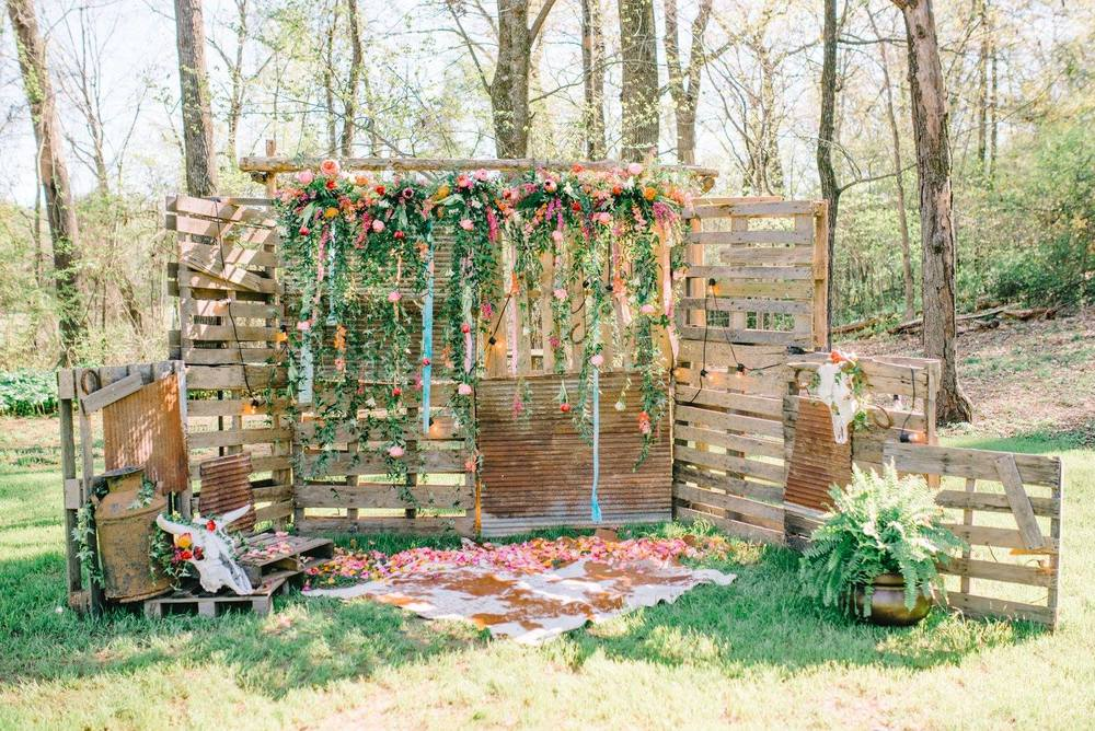 Sterling Imageworks, from Morgan + Wager's elopement. Palettes + rusty tin + cowhide + florals = amazing boho-cowgirl-rustic goodness!