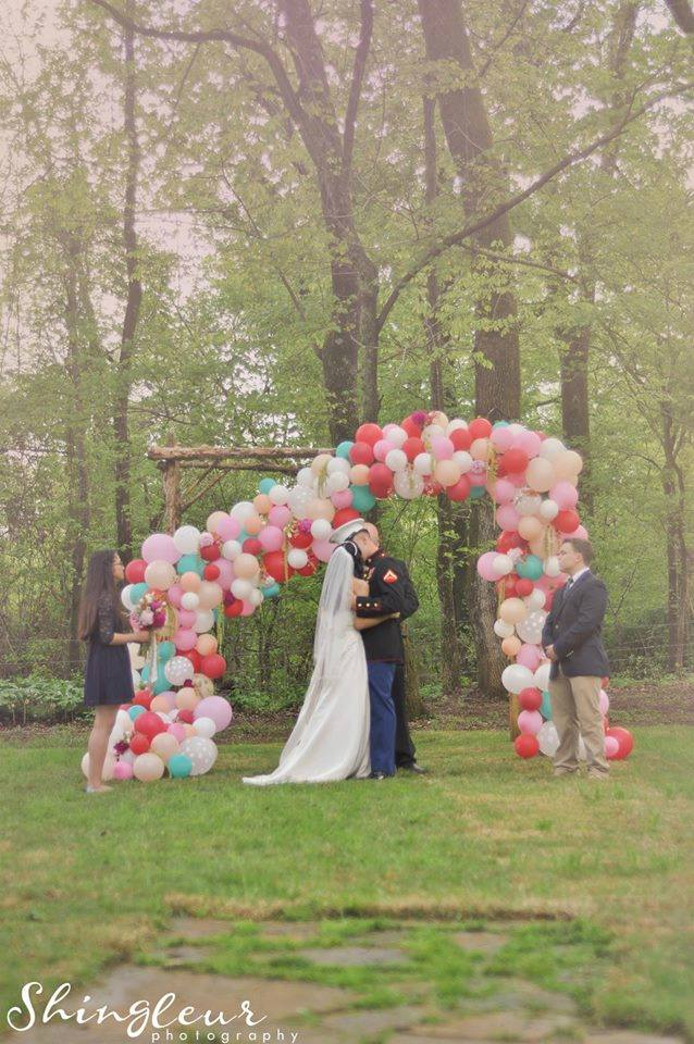"Shingleur Photography , from  Sujey + Jeffrey 's elopement. This colorful, whimsical balloon altar is the first thing that comes to mind when I think of ""over the top altars."" It was truly unforgettable!"