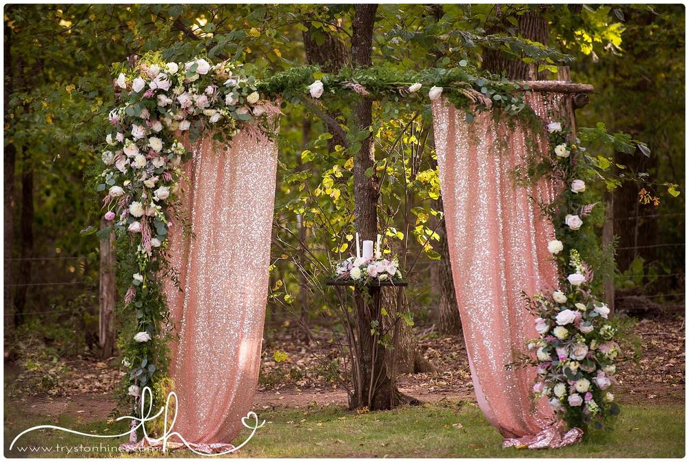 Tryston Hines Photography , from  Monica + Ryan 's wedding. A glittery altar covered in pink flowers and greenery is as glam as it gets!