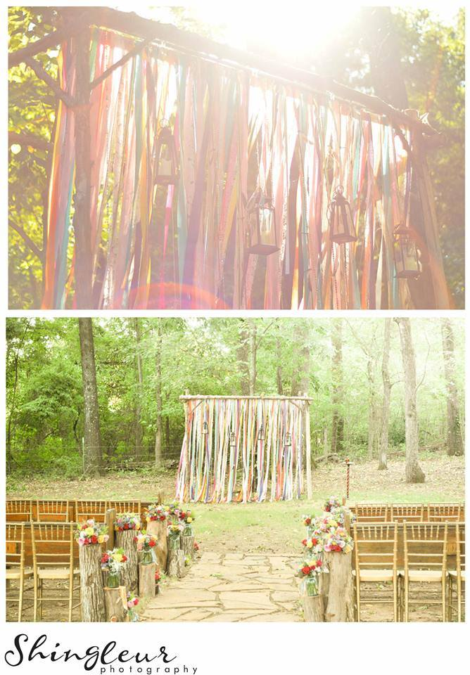 Shingleur Photography, from Gail + Brian's wedding. Every boho-hippie wedding needs an altar covered in colorful ribbons and lanterns.