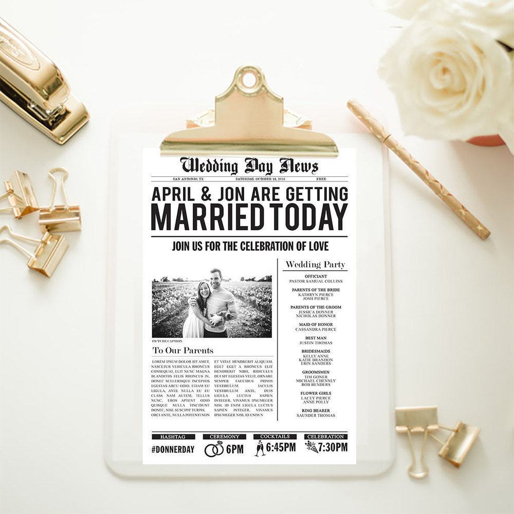 Etsy . Newspaper wedding programs are a nod to reading the paper on a Sunday morning!
