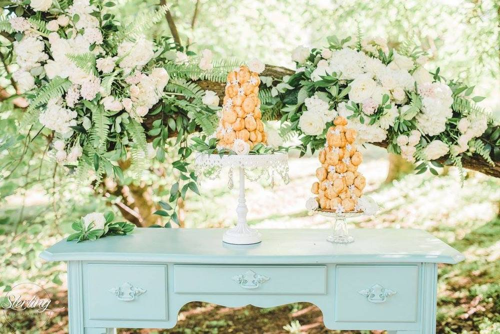Sterling Imageworks , from our  Breakfast at Tiffany's  styled shoot. One of my favorite details of 2016. The flowers on the tree + the croquembouche are SLAYING me!!!
