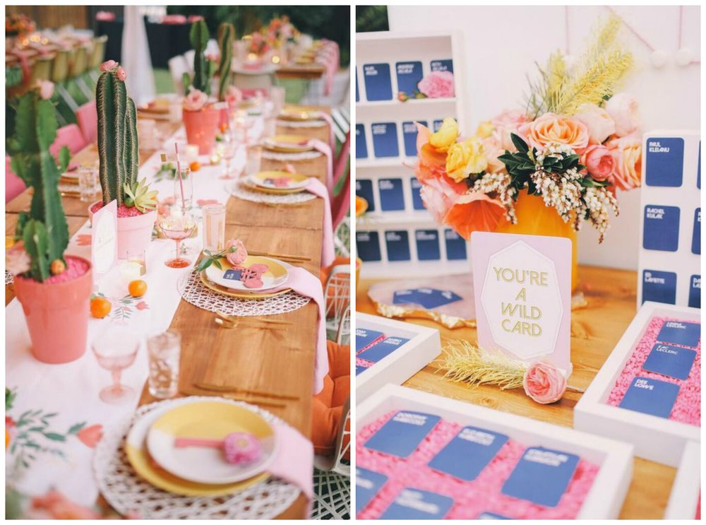 "Amorology. This wedding was everything! Sooo many FUN details, like these cactus table decorations and a Cards Against Humanity themed escort card display (omg!!!). Other highlights: fun, colorful, geometric details, and a ""so hot we melt your popsicle"" sign. Yessss!"