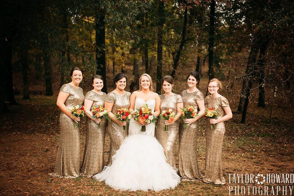 Taylor Howard Photography, from Samantha + Matt's wedding at The Barn. Gold sparkly bridesmaids' dresses are a must for a NYE wedding!