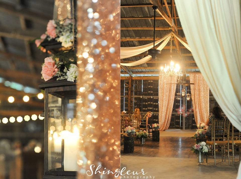 Shingleur Photography, from Cassie + Kyle's wedding at The Barn. A NYE wedding needs a sparkly backdrop!