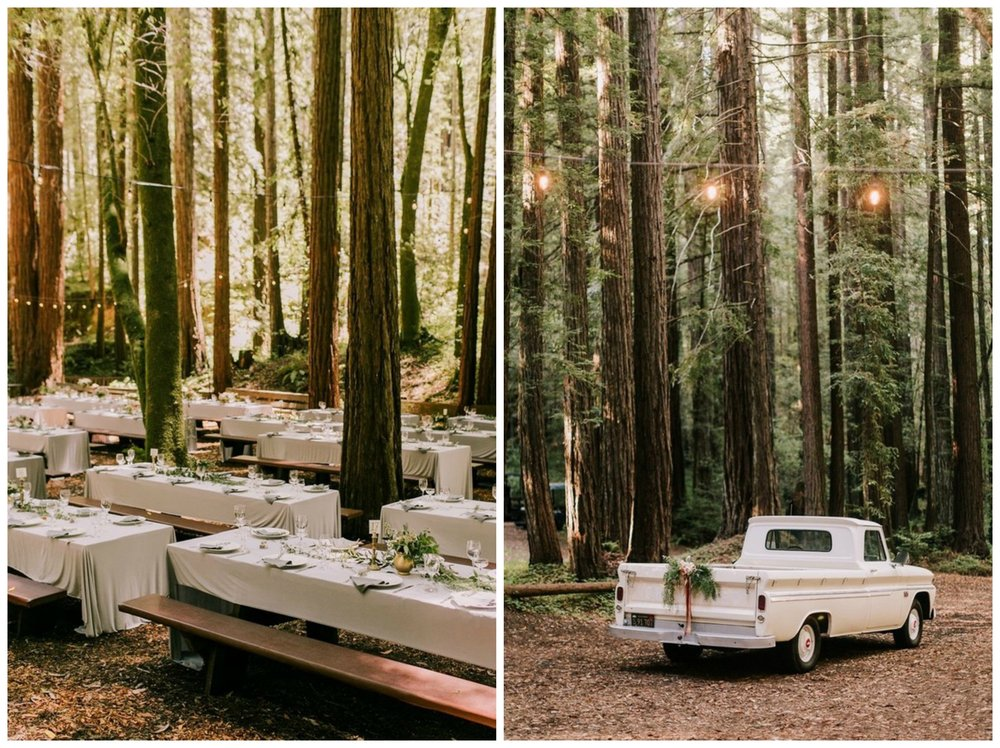 100 Layer Cake. That pretty old truck is the perfect getaway car for a woodsy wedding!