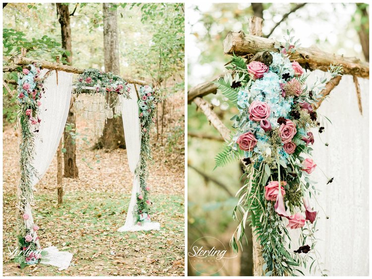 """Sterling Imageworks    Pam + Scott 's elopement was full of purple and turquoise, with a """"country bling"""" theme, as Pam described it. Many of their details were a little bit boho, like this altar with the prettiest turquoise and purple flowers. The mason jar chandelier on their altar was amazing, as was their cake table and the rest of their ceremony decor. Elopements at The Barn sure are sweet!"""