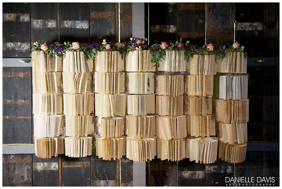 Danielle Davis Art/Photography , from  Emily + Blake 's wedding. The best sweetheart table backdrop of all time!