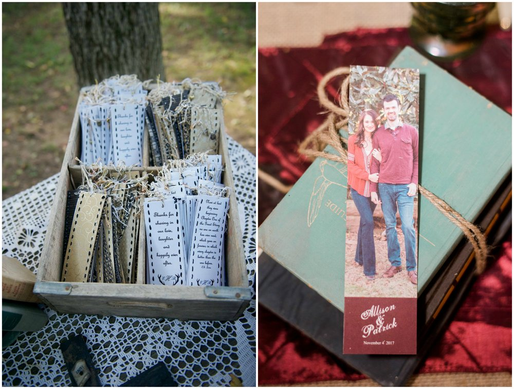 Danielle Davis Art/Photography , from  Emily + Blake 's wedding;  The McElmurrys , from  Allison + Patrick 's wedding. These couples sent their guests home with adorable bookmark favors!