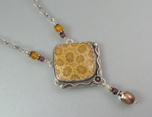 "A one-of-a-kind necklace - ""A Walk Among Sunflowers"""