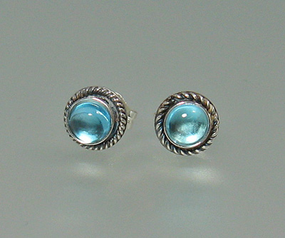 Blue Topaz Button Stud Earrings - simple and colorful ear adornments