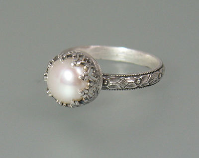 Edwardian Pearl Engagement Ring
