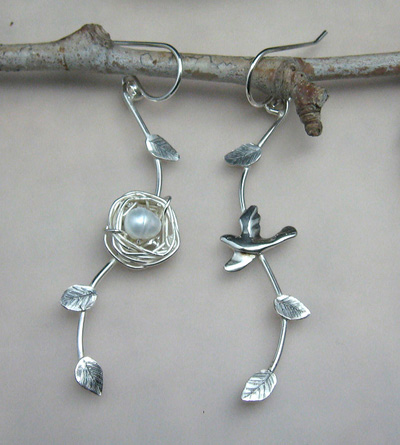 Flying Home Bird and Nest Earrings