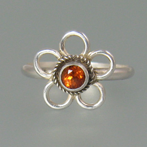Spessartite Garnet Boho Flower Ring
