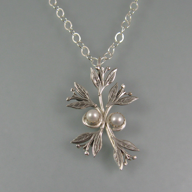pearl pendant necklace with leaves in sterling silver