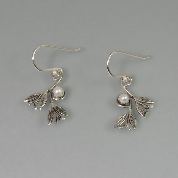 pearl earrings with leaves in sterling silver
