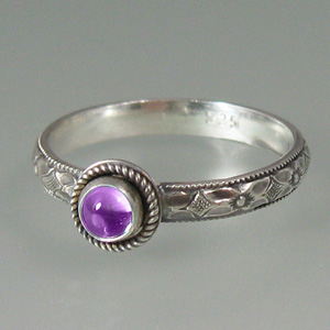 Amethyst Vintage Button Ring