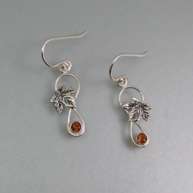 maple leaf earrings with golden citrine