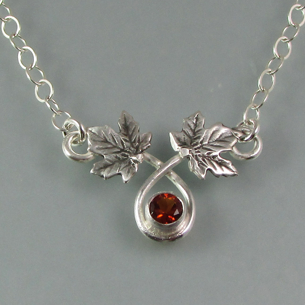 maple leaf necklace with golden citrine