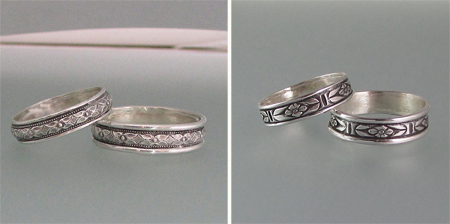 Edwardian Floral Diamond and Renaissance Floral Wedding Bands