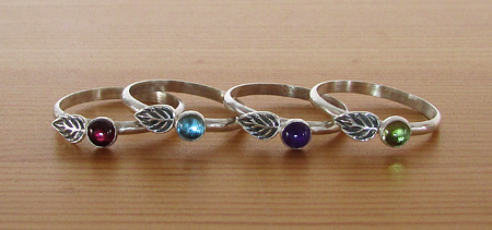 Spring Leaf Rings in garnet, London blue topaz, amethyst and peridot.