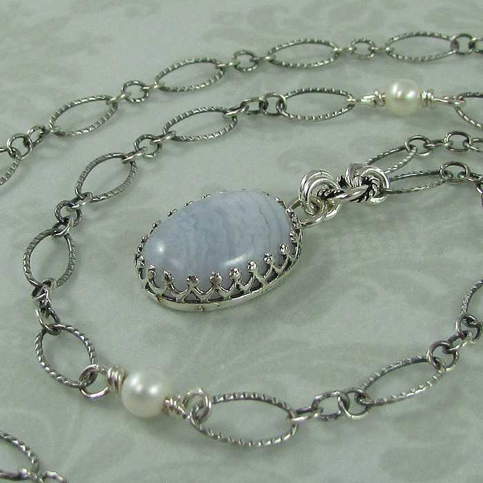 Blue Lace Agate Vintage Style Pendant Necklace
