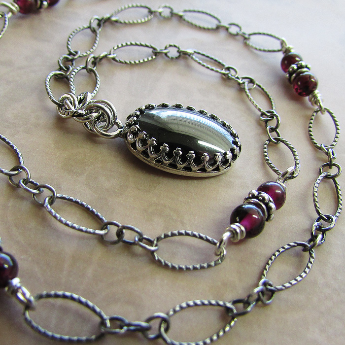 Hematite Vintage Style Pendant Necklace with Garnets