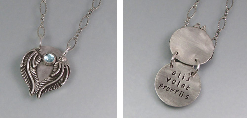 Alis Volat Propriis (She Flies By Her Own Wings) Secret Message Poesy Locket