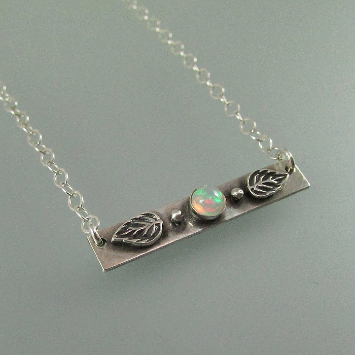 opal leaf bar necklace in sterling silver