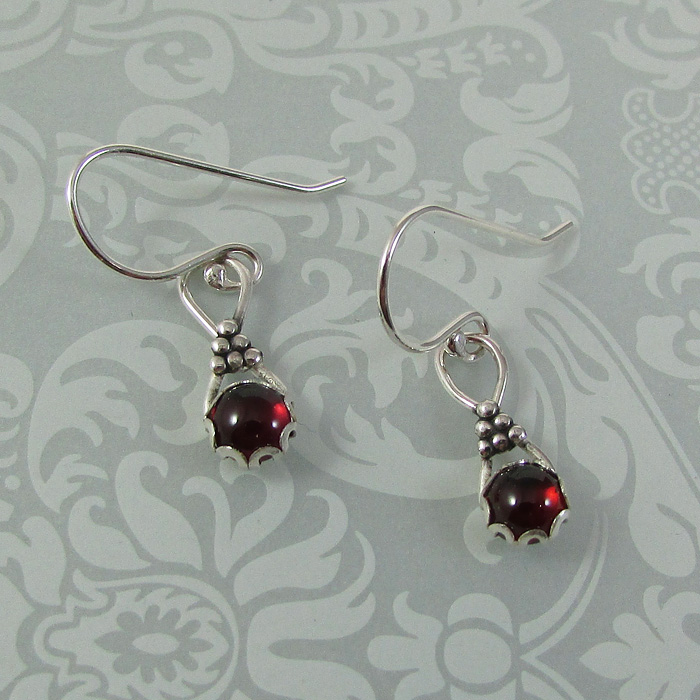 sterling silver garnet earrings vintage style