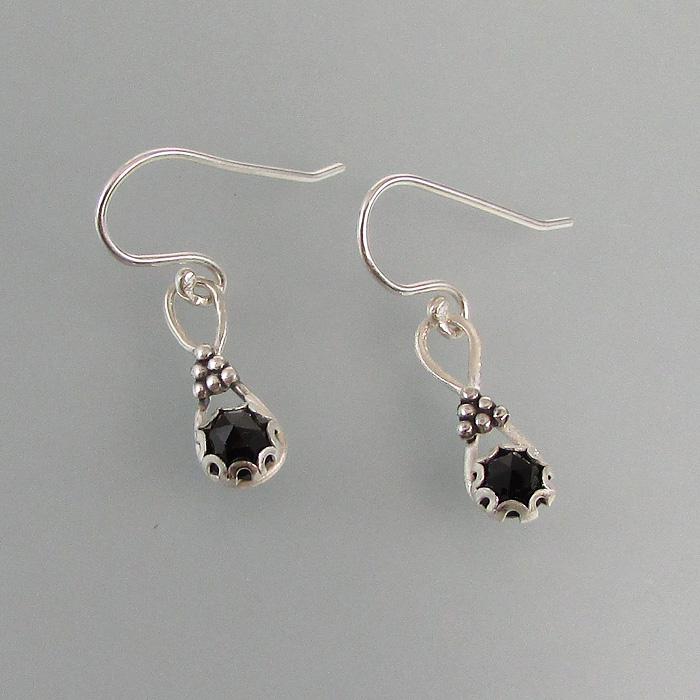 rose cut black spinel earrings