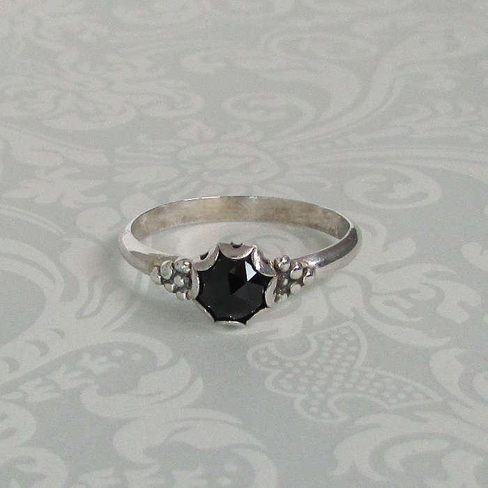 sterling silver rose cut black spinel ring