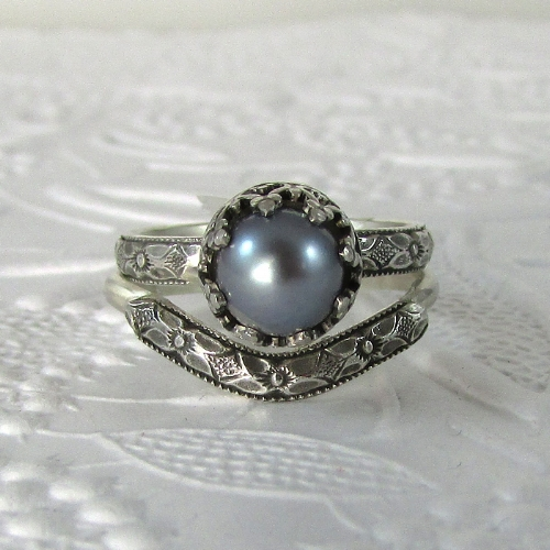 Gray Pearl Edwardian Style Engagement Ring with Matching Curved Band