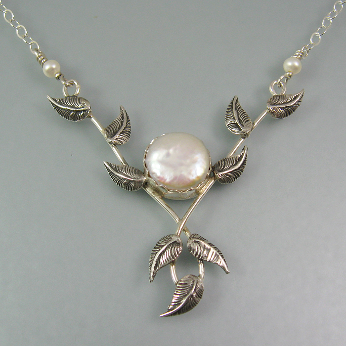 Lover's Embrace Pearl and Vine Necklace