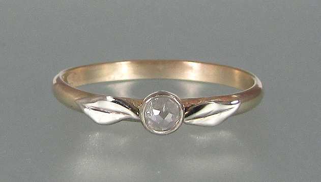 Rose cut diamond leaf engagement ring in 14kt yellow and white gold by Kryzia Kreations