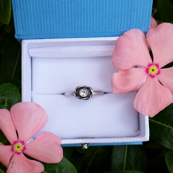 Vintage Style White Topaz Promise Ring for Step-daughter