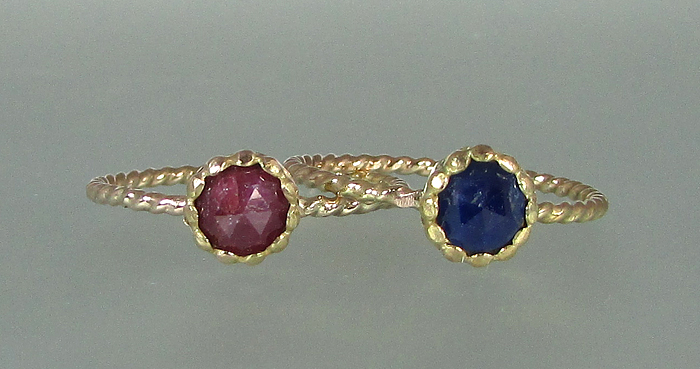 Rose cut ruby and sapphire 14kt gold twisted band rings