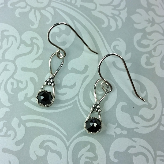 rose cut black spinel earrings vintage style