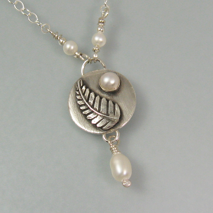forest fern pendant necklace with pearl drop