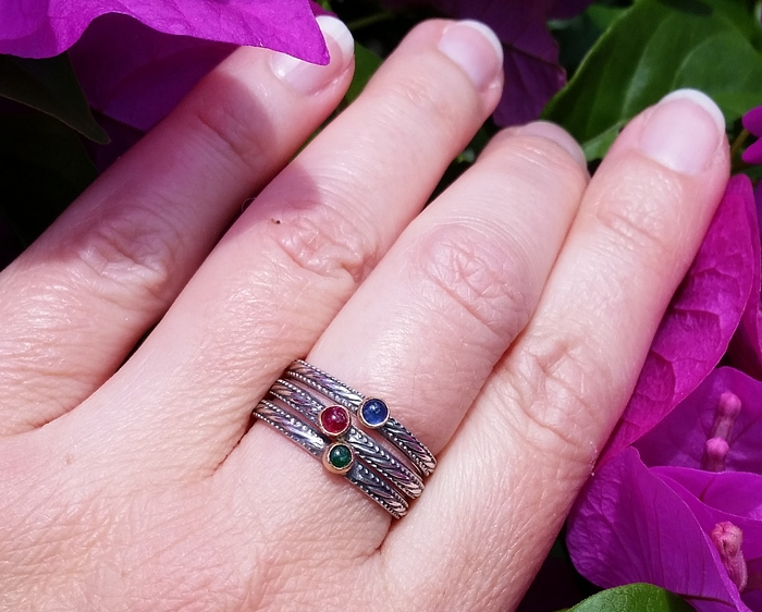 emerald, ruby and sapphire art deco stacking rings