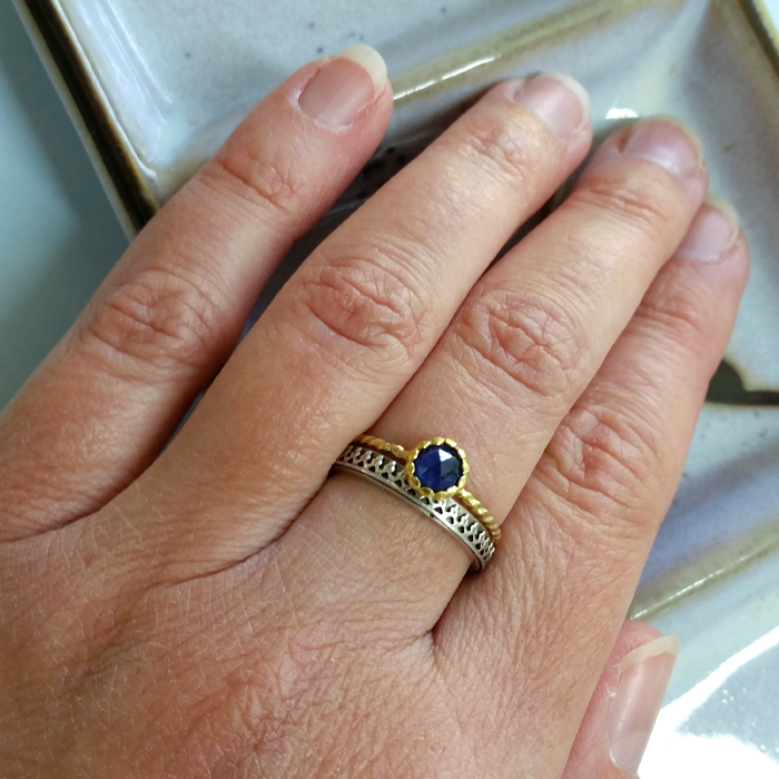 Rose Cut Sapphire 14kt Gold Twist Band Ring and Crown Wedding Band