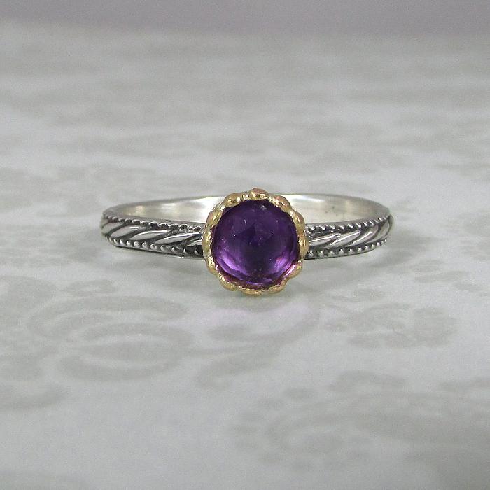 Rose Cut Amethyst Ring with 14kt Gold Bezel