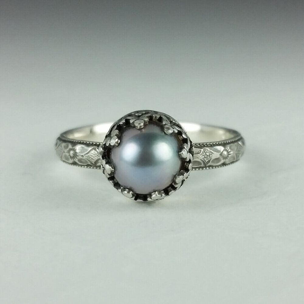 catbird engagement ring sandwich rings real pearl