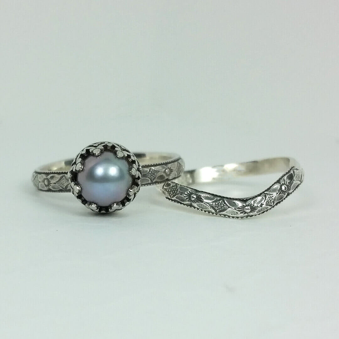 Pearl Wedding Rings.Edwardian Style Gray Pearl Engagement Ring With Matching Curved Wedding Band Set Kryzia Kreations Whimsical Nature And Vintage Inspired Artisan