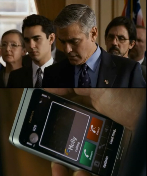 On-screen close-up of Nokia cell phone with George Clooney in the film  Ides of March